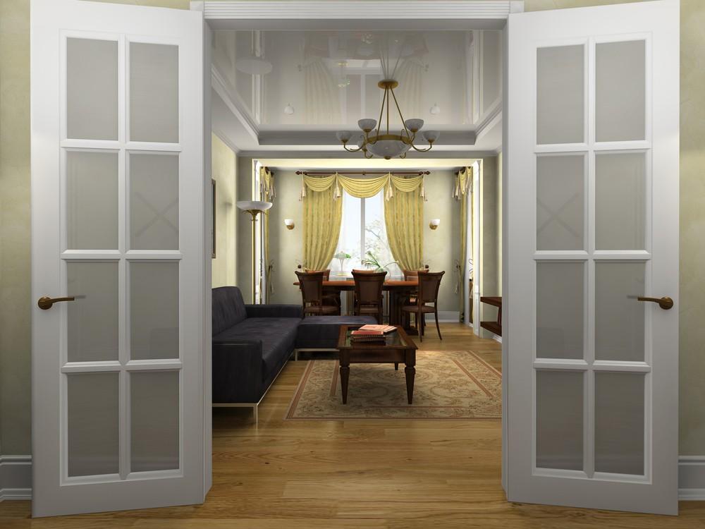 распашная дверь стеклянная